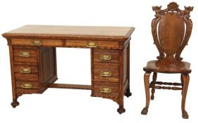 Carved Oak Writing Desk & Chair