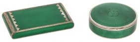2 Sterling & Green Enamel Guilloche Cases