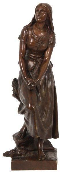 E. Laurent Bronze Figure Of A Woman