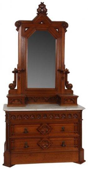 Marble Top Gothic Walnut Dresser