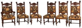 6 Carved Oak Dining Chairs