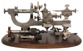 Watchmaker's Lathe On Walnut Stand