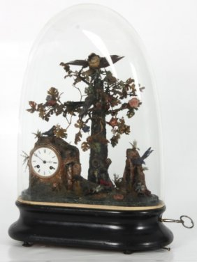 Animated Singing Bird Automaton W/ Dome