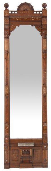 Carved Walnut Marble Top Pier Mirror