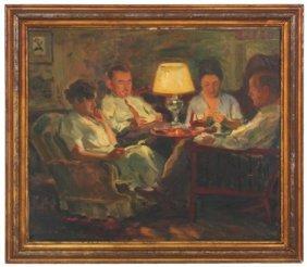 Arnold Lakhovsky O/c Interior Scene Painting