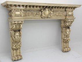 Massive Figural Carved Fireplace Mantle