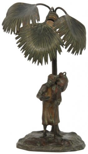 Austrian Bronze Cold Painted Boudoir Lamp