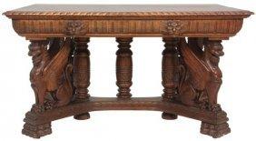 Carved Oak Winged Griffin Partner's Desk
