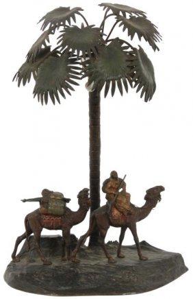 Bergman Cold Painted Bronze Figural Lamp