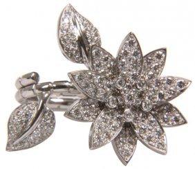 18k Van Cleef & Arpels Lotus Diamond Ring