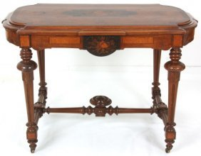 Renaissance Revival Inlaid Walnut Center Table