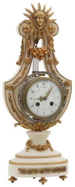 Bronze & Alabaster Lyre Mantle Clock