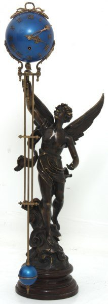 Lg. French Figural Mystery Swinger Clock