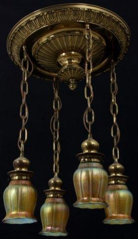 Quezal & Brass 4 Light Ceiling Fixture