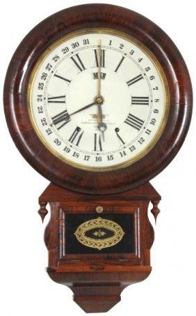 Ansonia Drop Extra Rosewood Calendar Clock