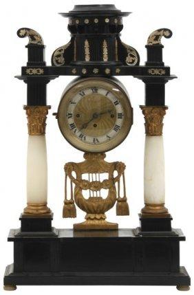 Alabaster & Embonized Silk Thread Portico Clock