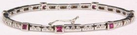 18k Gold, Diamond & Ruby Bracelet