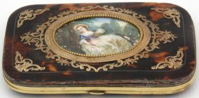Tortoise Shell Inlaid Case With Ivory Miniature