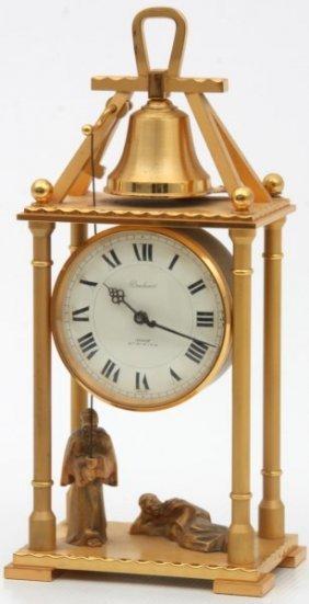 Swiss Animated Striking Bronze Clock