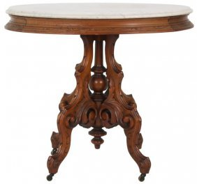 Carved Walnut Marble Top Center Table