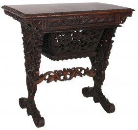Pierced Carved Teakwood Work Table