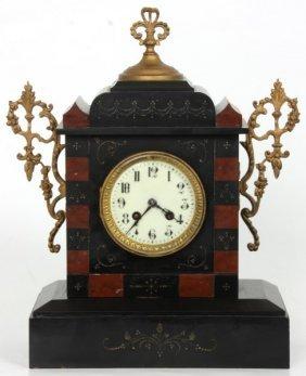 2 Tone Marble Mantle Clock