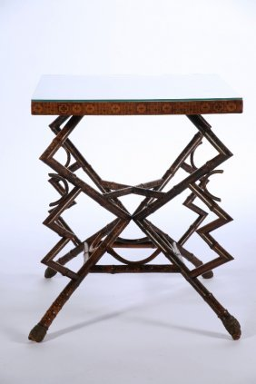 French Bamboo Game Table