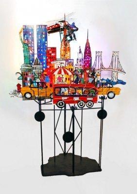 Large Kinetic/Lit Sculpture By Fredrick Prescott