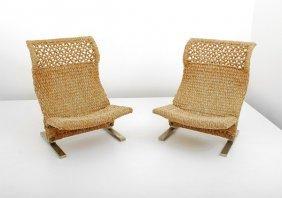 Pair Of Woven Chairs, Saporiti