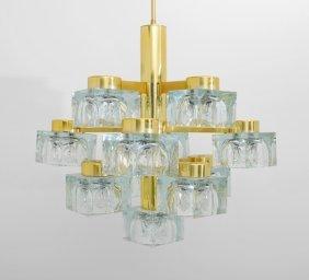 Large Glass Cube Chandelier, Gaetano Sciolari