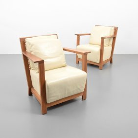 Pair Of Gervasoni Leather Lounge Chairs