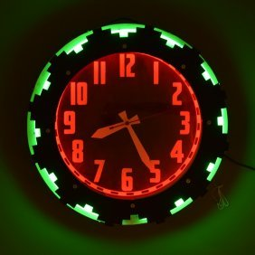 1940's Aztec Neon Clock, Electric Neon Clock Co.
