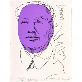 Rare Andy Warhol Signed Mao Exhibition Screen-print