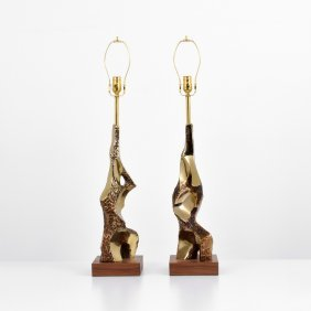 Pair Of Laurel Lamp Co. Brutalist Lamps