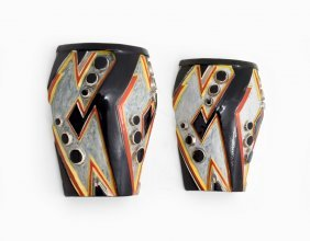 Pair Of Clarice Cliff Sgraffito Wall Pockets