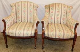 Pair Satinwood Inlaid Mahogany Edwardian Chairs.