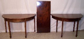 Pair Of D-end Mahogany Consoles W/ Center Leaf