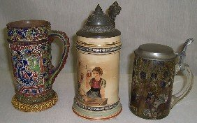 2 Pewter Topped Steins And 1 Oriental Mug.