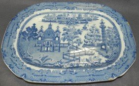 Early English Soft Paste Platter Decorated