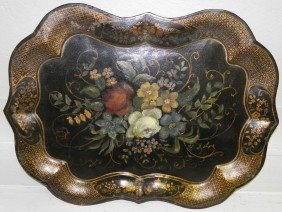 Early Scalloped Edge Tole Painted Tray.