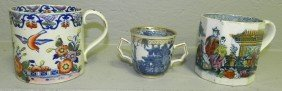 (2) Mugs And (1) Early Blue And White Export Cup.