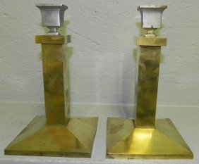 Pr Signed Bradley And Hubbard Candlesticks.