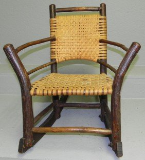 Child's Hickory Rush Seat Chair.