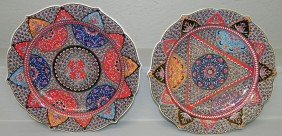 "Pair Hand Painted Turkish Chargers (12"")"