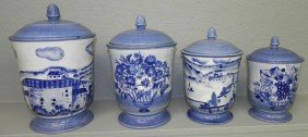 (4) Pc Blue And White Earthenware Canister Set