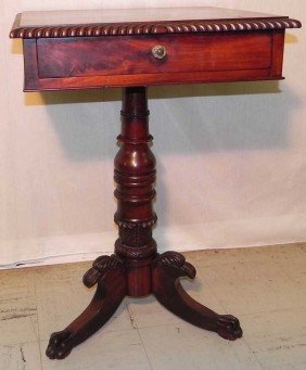Mahogany Gadroon Carved Bedside Table