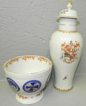 19th C Export Armorial Rice Bowl & Lidded Vase.