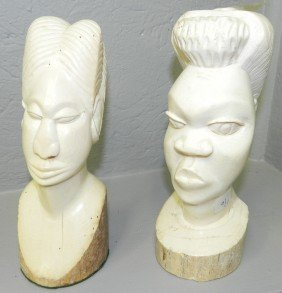Pair Of Antique Ivory African Carvings.