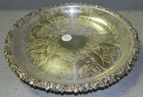 English Ellis Barker Silver Plate Round Tray.