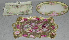 (3) Victorian Hand Painted Dresser Trays.